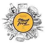 Συρμένο χέρι έμβλημα γρήγορου φαγητού Αρτοποιείο τροφίμων οδών Burger, χοτ-ντογκ, σόδα, τηγανιτές πατάτες, πίτσα, καφές, bagels χ Στοκ φωτογραφίες με δικαίωμα ελεύθερης χρήσης