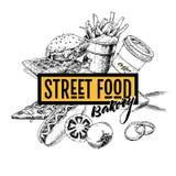 Συρμένο χέρι έμβλημα γρήγορου φαγητού Αρτοποιείο τροφίμων οδών Burger, χοτ-ντογκ, τηγανιτές πατάτες, πίτσα, καφές και waffels χαρ Στοκ Φωτογραφίες