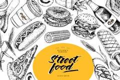 Συρμένο χέρι έμβλημα γρήγορου φαγητού Αρτοποιείο τροφίμων οδών Burger, χοτ-ντογκ, τηγανιτές πατάτες, πίτσα, καφές, σόδα, bagel, d Στοκ εικόνες με δικαίωμα ελεύθερης χρήσης