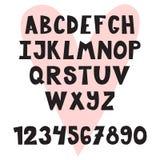 Συρμένο χέρι αγγλικό αλφάβητο Χαριτωμένοι επιστολές και αριθμοί font ελεύθερη απεικόνιση δικαιώματος
