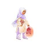 Συρμένο χέρι αραβικό μικρό κορίτσι με το φανάρι Ramadan απεικόνιση kareem Watercolor Στοκ Φωτογραφίες