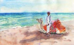 Συρμένο χέρι αραβικό seascape Άτομο, καμήλα, παραλία και θάλασσα Watercolor Στοκ Φωτογραφία