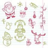 Συρμένο χέρι αστείο σύνολο Χριστουγέννων Στοκ Εικόνες