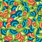 Συρμένο χέρι βοτανικό και χρωματισμένο κύκλοι άνευ ραφής σχέδιο Στοκ φωτογραφία με δικαίωμα ελεύθερης χρήσης