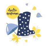 Συρμένο χέρι ΓΕΙΑ ΣΟΥ σχέδιο Loyout ΦΘΙΝΟΠΩΡΟΥ με τις μπλε λαστιχένιες μπότες και την ομπρέλα ελεύθερη απεικόνιση δικαιώματος