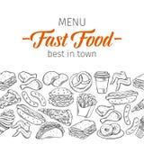 συρμένο χέρι γρήγορο φαγητό διανυσματική απεικόνιση