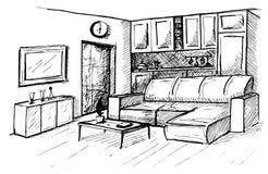 συρμένο χέρι Γραμμικό σκίτσο ενός εσωτερικού Σχέδιο δωματίων επίσης corel σύρετε το διάνυσμα απεικόνισης Στοκ εικόνες με δικαίωμα ελεύθερης χρήσης