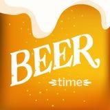 Συρμένο χέρι διάνυσμα της ελαφριών κινηματογράφησης σε πρώτο πλάνο μπύρας και του χρονικού κειμένου μπύρας Διανυσματική απεικόνιση