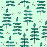 Συρμένο χέρι διανυσματικό άνευ ραφής σχέδιο με τα floral στοιχεία σχέδιο - φύλλα, κλαδίσκοι Στοκ Εικόνες