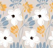 Συρμένο χέρι διανυσματικό άνευ ραφής σχέδιο χρώματος Αφηρημένα λουλούδια με τα φύλλα, σχέδιο σκίτσων Σκανδιναβική floral σύσταση  διανυσματική απεικόνιση