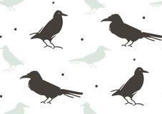 Συρμένο χέρι διανυσματικό αφηρημένο άνευ ραφής σχέδιο απεικόνισης αποκριών κινούμενων σχεδίων ευτυχές με τα κοράκια στο λευκό Στοκ φωτογραφία με δικαίωμα ελεύθερης χρήσης