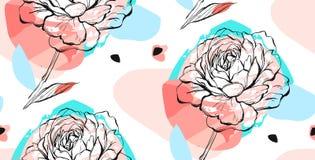 Συρμένο χέρι διανυσματικό αφηρημένο δημιουργικό ασυνήθιστο άνευ ραφής σχέδιο με το γραφικό peony λουλούδι στα χρώματα κρητιδογραφ Στοκ φωτογραφία με δικαίωμα ελεύθερης χρήσης
