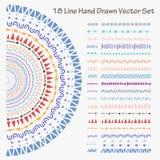 18 συρμένο χέρι διανυσματικό σύνολο γραμμών ελεύθερη απεικόνιση δικαιώματος