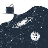 Συρμένο χέρι διαστημικό διακριτικό με την κατασκευασμένη διανυσματική απεικόνιση Στοκ Φωτογραφία
