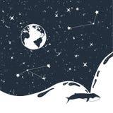 Συρμένο χέρι διαστημικό διακριτικό με την κατασκευασμένη διανυσματική απεικόνιση Στοκ φωτογραφία με δικαίωμα ελεύθερης χρήσης