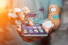 Συρμένο χέρι εικονίδιο οργάνωσης διαγραμμάτων που βγαίνει ένα smartphone interf Στοκ Εικόνες
