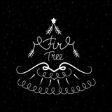 Συρμένο χέρι εικονίδιο με μια διανυσματική απεικόνιση δέντρων έλατου για τα Χριστούγεννα Στοκ φωτογραφία με δικαίωμα ελεύθερης χρήσης