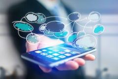 Συρμένο χέρι εικονίδιο οργάνωσης διαγραμμάτων που βγαίνει ένα smartphone interf Στοκ φωτογραφία με δικαίωμα ελεύθερης χρήσης