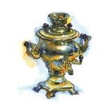 Συρμένο χέρι εκλεκτής ποιότητας σαμοβάρι χαλκού Παλαιό ρωσικό δοχείο Watercolor στο αγροτικό ύφος που απομονώνεται στο άσπρο υπόβ Στοκ Φωτογραφία