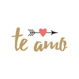 Συρμένο χέρι εμπνευσμένο απόσπασμα αγάπης στα ισπανικά - te amo, αναδρομική τυπογραφία απεικόνιση αποθεμάτων