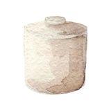 Συρμένο χέρι εμπορευματοκιβώτιο watercolor στο άσπρο υπόβαθρο Σειρά εργαλείων κουζινών Στοκ Εικόνες