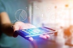 Συρμένο χέρι επιχειρησιακό εικονίδιο που βγαίνει μια διεπαφή smartphone του Π.Μ. Στοκ Εικόνα