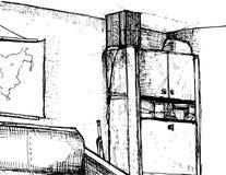 Συρμένο χέρι εσωτερικό του γραφείου ελεύθερη απεικόνιση δικαιώματος