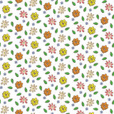Συρμένο χέρι ζωηρόχρωμο άνευ ραφής σχέδιο λουλουδιών Στοκ Φωτογραφία