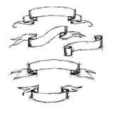 Συρμένο χέρι διάνυσμα καθορισμένο - εκλεκτής ποιότητας εμβλήματα κορδελλών διανυσματική απεικόνιση