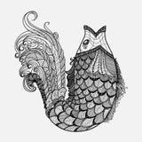 Συρμένο χέρι διάνυσμα ψαριών φαντασίας στο ύφος zentangle Στοκ Φωτογραφία