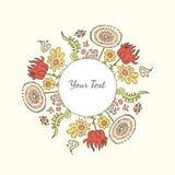 Συρμένο χέρι διακοσμητικό ζωηρόχρωμο πλαίσιο κειμένων ή εικόνας με τα λουλούδια Στοκ Εικόνα