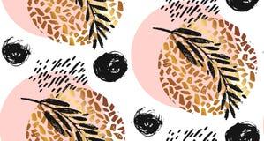 Συρμένο χέρι διανυσματικό άνευ ραφής κατασκευασμένο στρογγυλό χρυσό σχέδιο με τη χρωματισμένη γρατσουνισμένη σύσταση Στοκ εικόνα με δικαίωμα ελεύθερης χρήσης