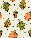 Συρμένο χέρι διανυσματικό άνευ ραφής σχέδιο με τα φύλλα φθινοπώρου Στοκ φωτογραφίες με δικαίωμα ελεύθερης χρήσης