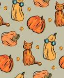 Συρμένο χέρι διανυσματικό άνευ ραφής σχέδιο με τους διαφορετικούς αστείους χαρακτήρες Στοκ Εικόνα