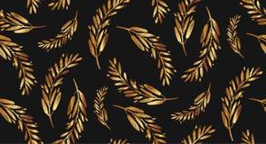 Συρμένο χέρι διανυσματικό άνευ ραφής χρυσό σχέδιο brunch Στοκ Εικόνα
