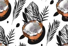 Συρμένο χέρι διανυσματικό αφηρημένο ασυνήθιστο άνευ ραφής σχέδιο με τα εξωτικά τροπικά φύλλα παλαμών μυρμηγκιών καρύδων φρούτων π διανυσματική απεικόνιση