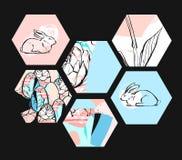 Συρμένο χέρι διανυσματικό αφηρημένο καλλιτεχνικό κατασκευασμένο hexagon κολάζ Πάσχας μορφών με τα γραφικά λουλούδια, το λαγουδάκι Στοκ Εικόνα