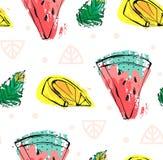 Συρμένο χέρι διανυσματικό αφηρημένο χαριτωμένο αστείο άνευ ραφής σχέδιο φρούτων θερινού χρόνου με το καρπούζι, λεμόνι, φύλλα μεντ Στοκ Φωτογραφίες
