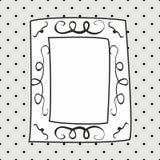 Συρμένο χέρι διανυσματικό πλαίσιο στο γκρίζο υπόβαθρο σημείων Πόλκα Στοκ φωτογραφία με δικαίωμα ελεύθερης χρήσης
