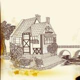 Συρμένο χέρι διανυσματικό σπίτι στο εκλεκτής ποιότητας ύφος Στοκ φωτογραφία με δικαίωμα ελεύθερης χρήσης