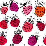 Συρμένο χέρι διανυσματικό σχέδιο μελανιού με τη φράουλα ελεύθερη απεικόνιση δικαιώματος