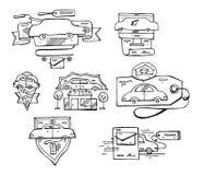 Συρμένο χέρι διανυσματικό σύνολο γραφικών ευθυγραμμισμένων στοιχείων, εμβλημάτων και εικονιδίων λογότυπων αυτοκινήτων Στοκ εικόνα με δικαίωμα ελεύθερης χρήσης