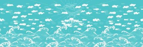 Συρμένο χέρι ιαπωνικό ύφος doodle φαντασίας άνευ ραφής Στοκ Εικόνα