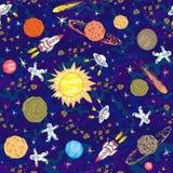 Συρμένο χέρι διαστημικό άνευ ραφής σχέδιο Ανασκόπηση κατσικιών Στοκ Φωτογραφία