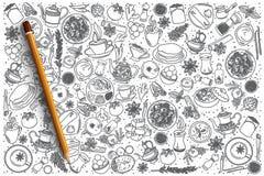 Συρμένο χέρι ινδικό καθορισμένο υπόβαθρο τροφίμων Στοκ Φωτογραφίες