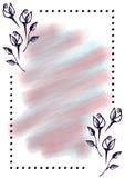 Συρμένο χέρι κατασκευασμένο floral υπόβαθρο Εκλεκτής ποιότητας κάρτα με τα λουλούδια, φύλλα, brushstrokes Στοκ εικόνα με δικαίωμα ελεύθερης χρήσης