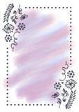 Συρμένο χέρι κατασκευασμένο floral υπόβαθρο Εκλεκτής ποιότητας κάρτα με τα λουλούδια, φύλλα, brushstrokes Στοκ Εικόνες