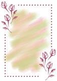 Συρμένο χέρι κατασκευασμένο floral υπόβαθρο Εκλεκτής ποιότητας κάρτα με τα λουλούδια, φύλλα, brushstrokes Στοκ φωτογραφία με δικαίωμα ελεύθερης χρήσης