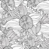 Συρμένο χέρι καλλιτεχνικό εθνικό διακοσμητικό διαμορφωμένο floral πλαίσιο στο ύφος doodle για τις ενήλικες χρωματίζοντας σελίδες Στοκ Εικόνα