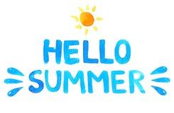 Συρμένο χέρι καλοκαίρι κειμένων γειά σου μπλε διάνυσμα διανυσματική απεικόνιση